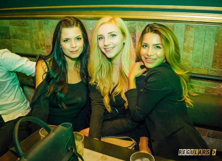 Regulars Bar club Toronto three sexy blonde girls drinking