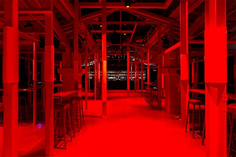 Rive Rouge nightclub Lisbon view of the club dance floor red lights