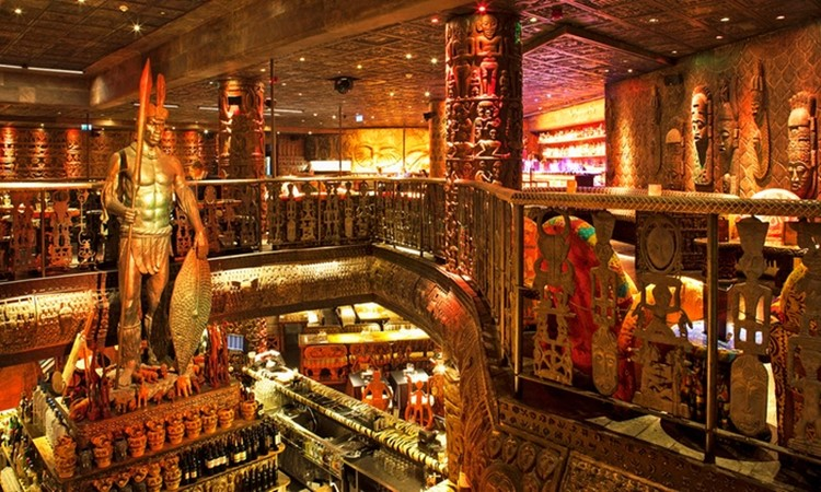 Shaka Zulu restaurant club London view of the second level gold interior design