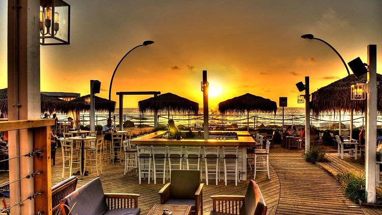 Shalvata nightclub Tel Aviv beach club sunset