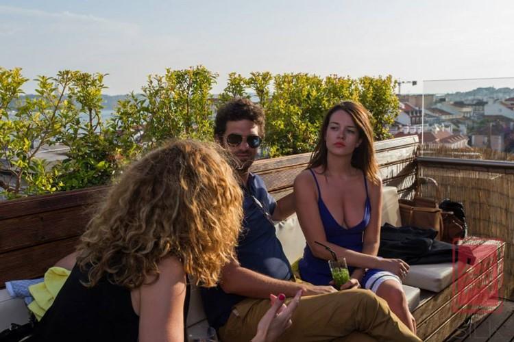 Silk Club nightclub Lisbon people socialising drinking brunette girl cleavage
