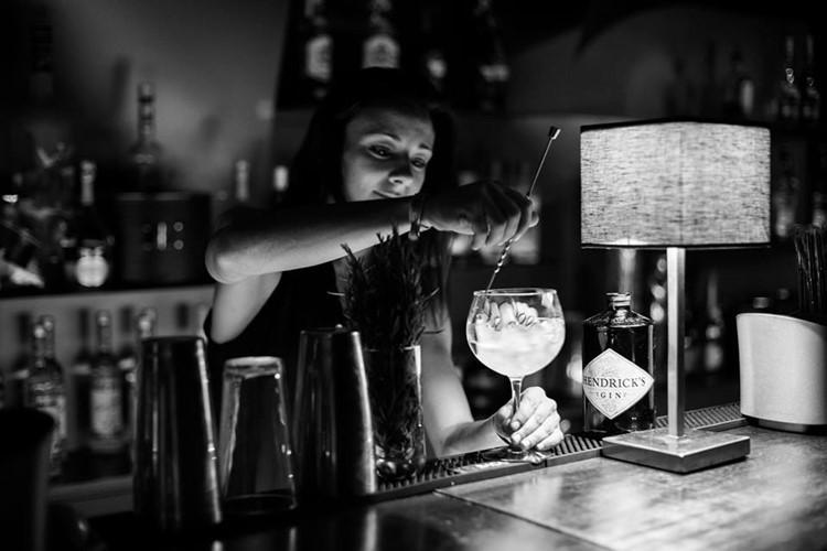 Silk Club nightclub Lisbon view of the barman mixing alcoholic drinks