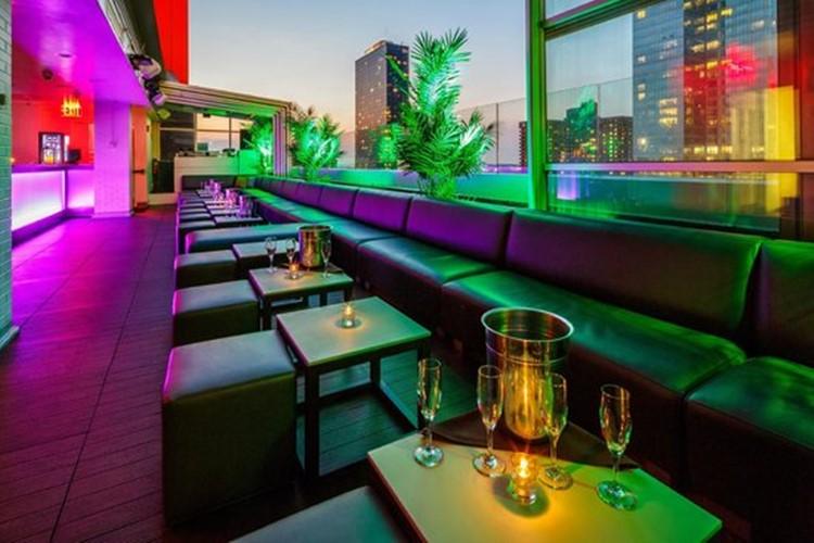 Sky Room nightclub New York City rooftop club lounge area