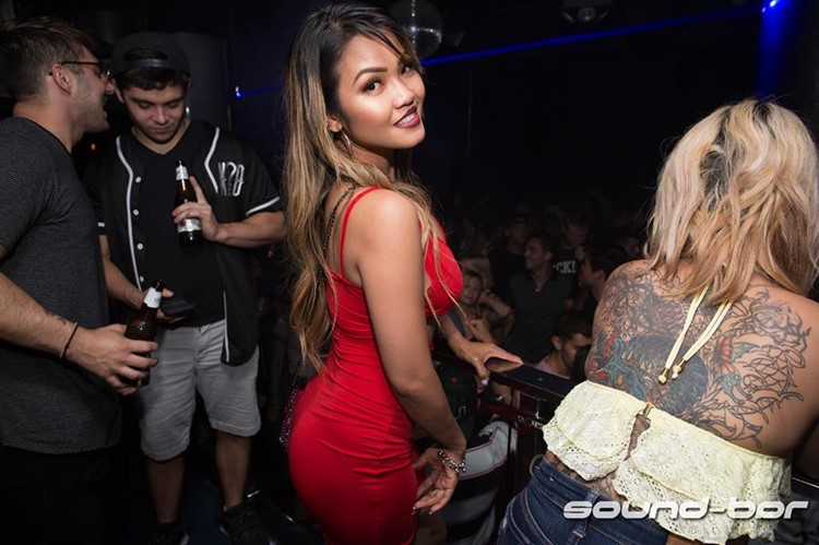 Sound Bar nightclub Chicago hot girl dresses in red dress drinking having fun