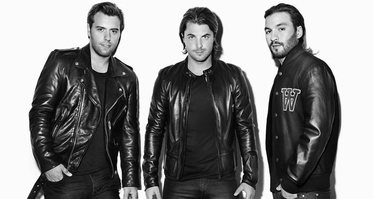 Swedish House Mafia in leather jackets announcing a reunion gig