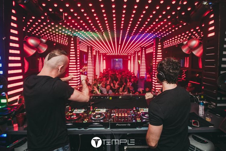 Temple nightclub San Francisco djs mixing music having fun crowd