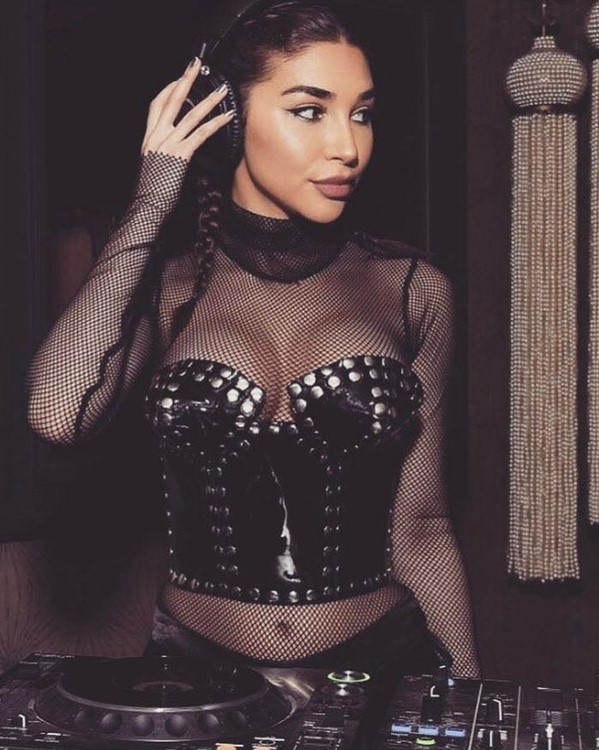 Temple nightclub San Francisco sexy dj girl in black leather corset brunette