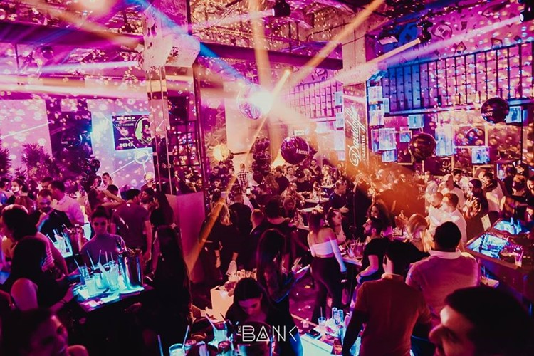 The Bank club nightclub Belgrade big party crazy crowd dance lights show