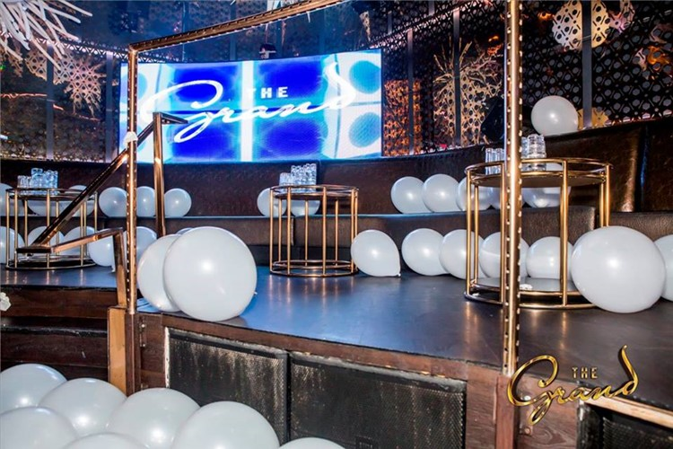 The Grand nightclub San Francisco white balloons stage dance floor