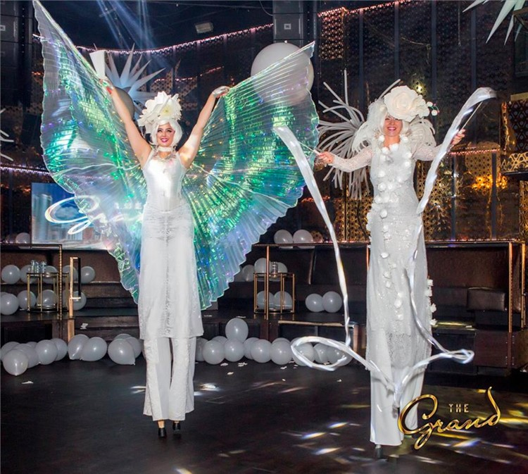 The Grand nightclub San Francisco two acrobats all white costumes party show
