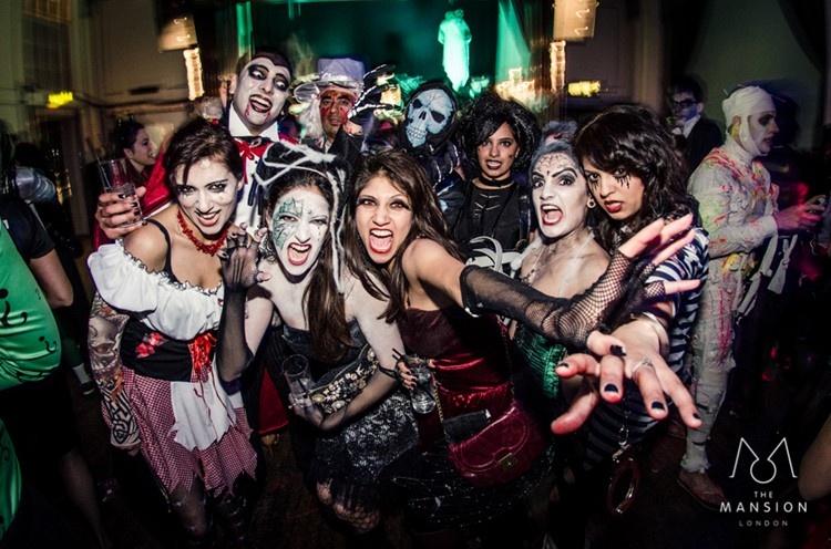 The Mansion night house club London private Halloween event party girls and boys costumes scary witch monsters vampire