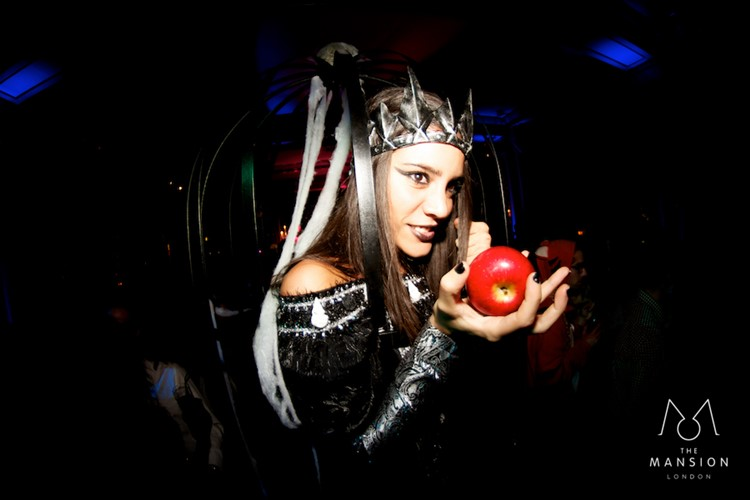 The Mansion night house club London private Halloween event party dark evil queen poisoned apple girl costume