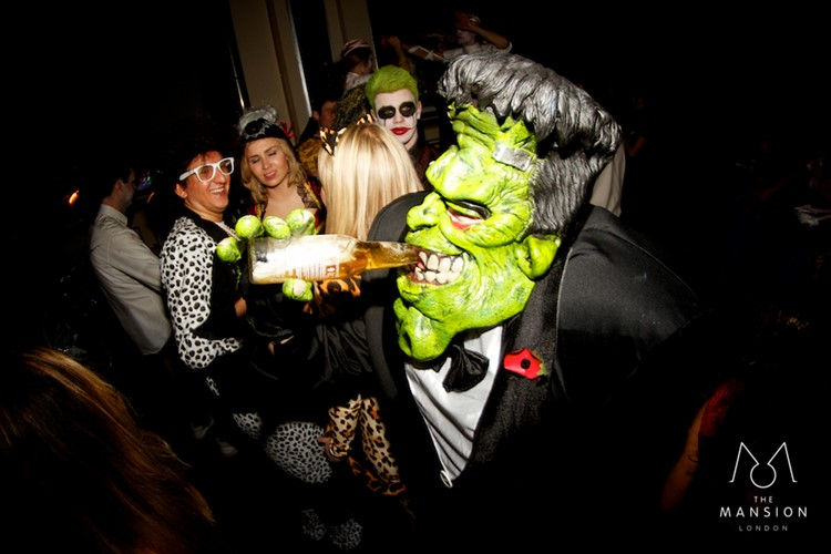 The Mansion night house club London private Halloween event party hulk Frankenstein costume drinking man