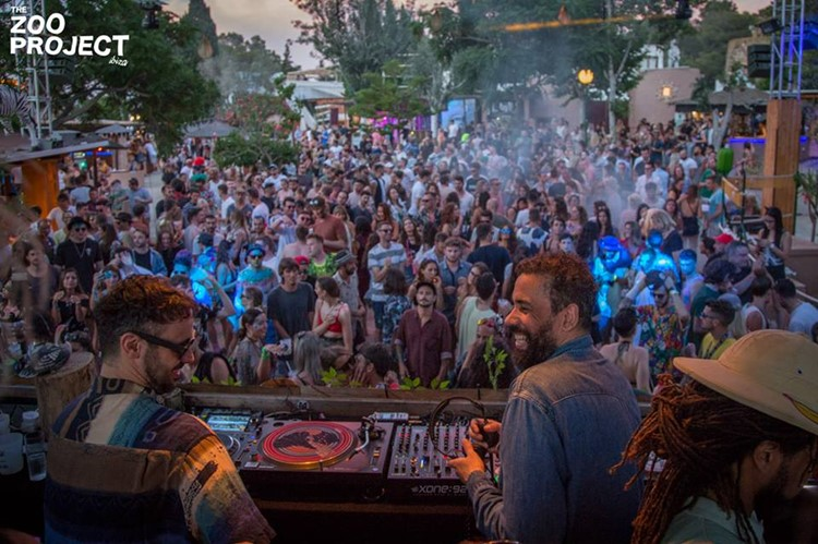 The Zoo Project festival party Ibiza two djs having fun full crowd at event