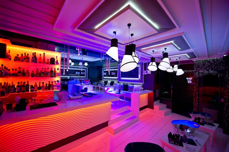 Toy RoOm nightclub Mykonos view of the interior of the club modern styled colored lights