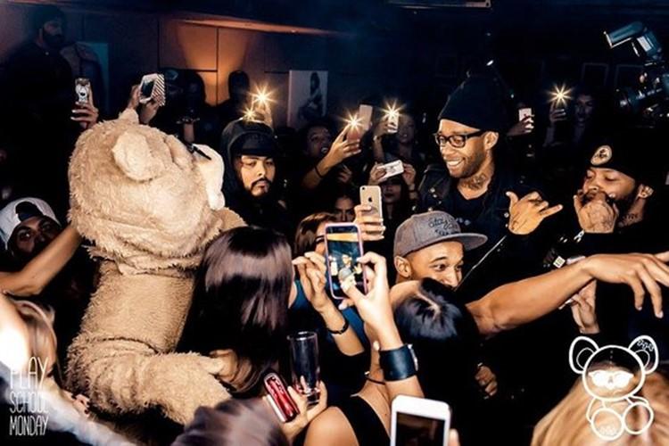Toy Room nightclub Dubai rapper Ty Dolla with mascot teddy bear