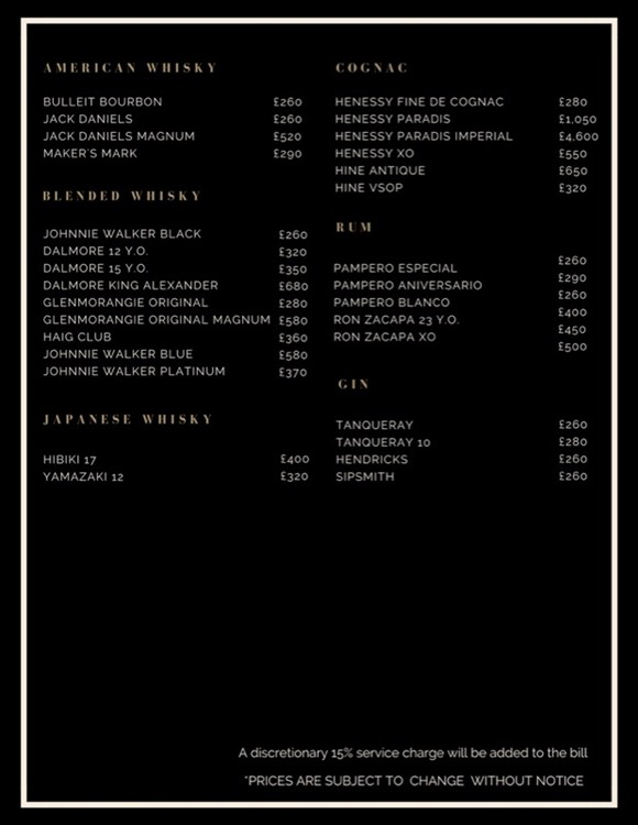 Spirits bottle menu with prices at ToyRoom nightclub in London