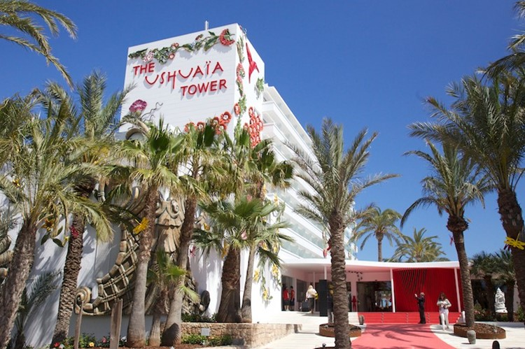 Ushuaia nightclub Ibiza tower building street view