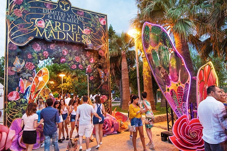 Ushuaia nightclub Ibiza Dimitri Vegas concert festival looking fairytale themed Tomorrowland