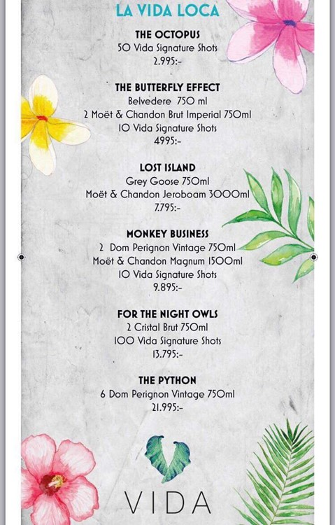 Vida nightclub Stockholm alcohol drinks menu bottles prices