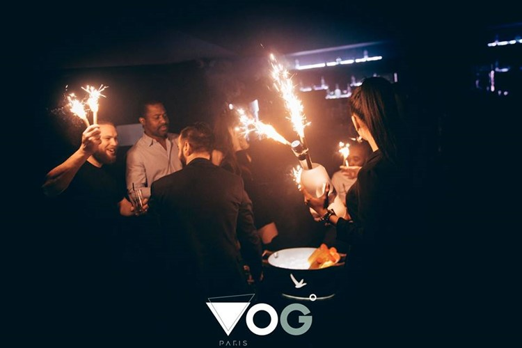 Vog nightclub Paris table service alcohol bottles served