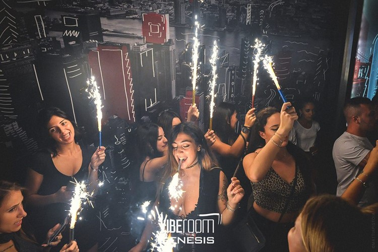 Vibe Room nightclub Milan party light bottle service girls
