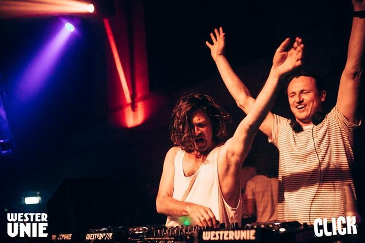 WesterUnie nightclub Amsterdam two djs mixing music having fun dancing