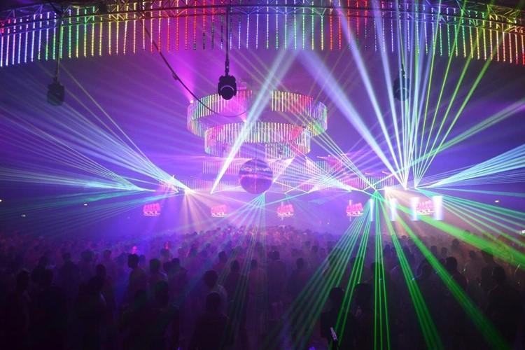 WesterUnie nightclub Amsterdam lights show over crowd people big party
