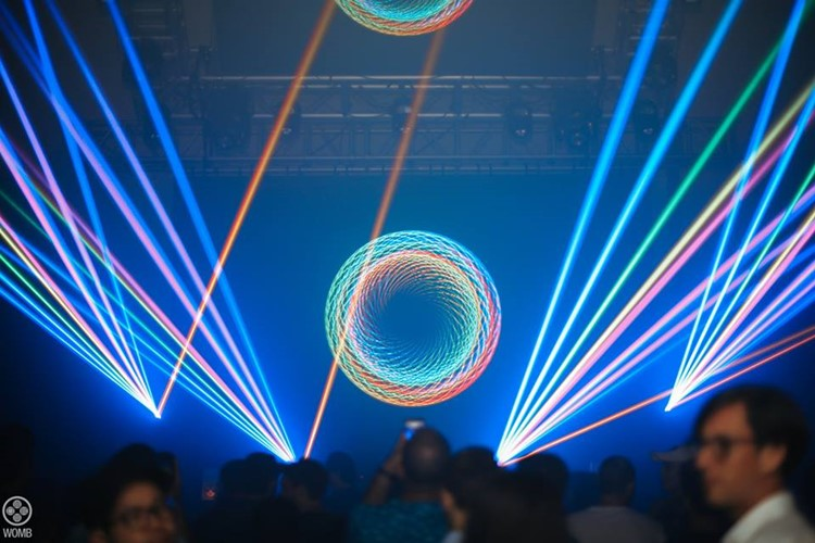 Womb nightclub Tokyo show lights crowd dancing
