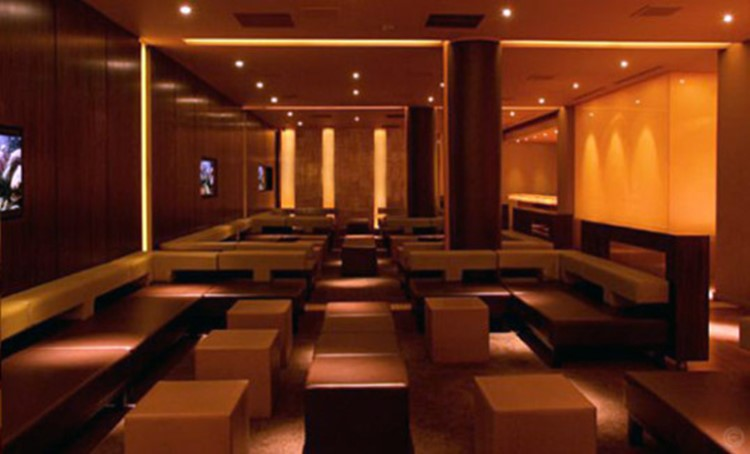 Ybar nightclub Chicago view of the lounge area brown interior design