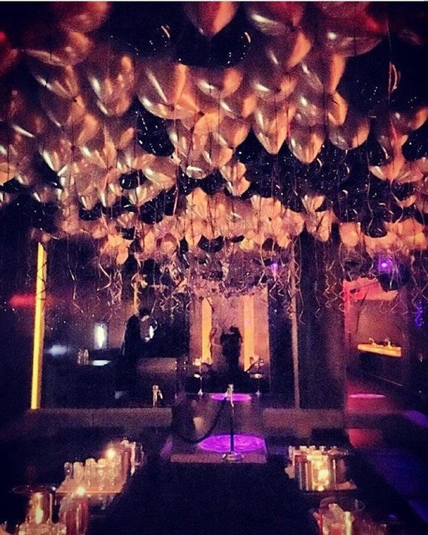 Ybar nightclub Chicago balloons in the air table bookins